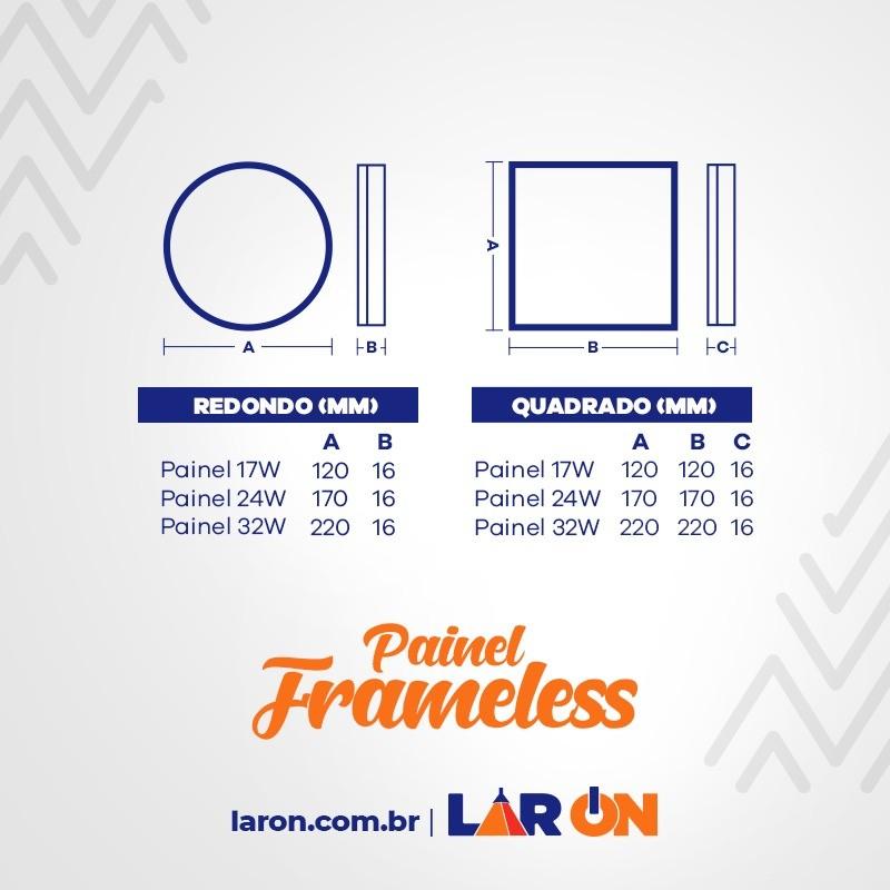 Painel Led Frameless 17W Taschibra Sobrepor ou Embutir Redondo - 120x16mm