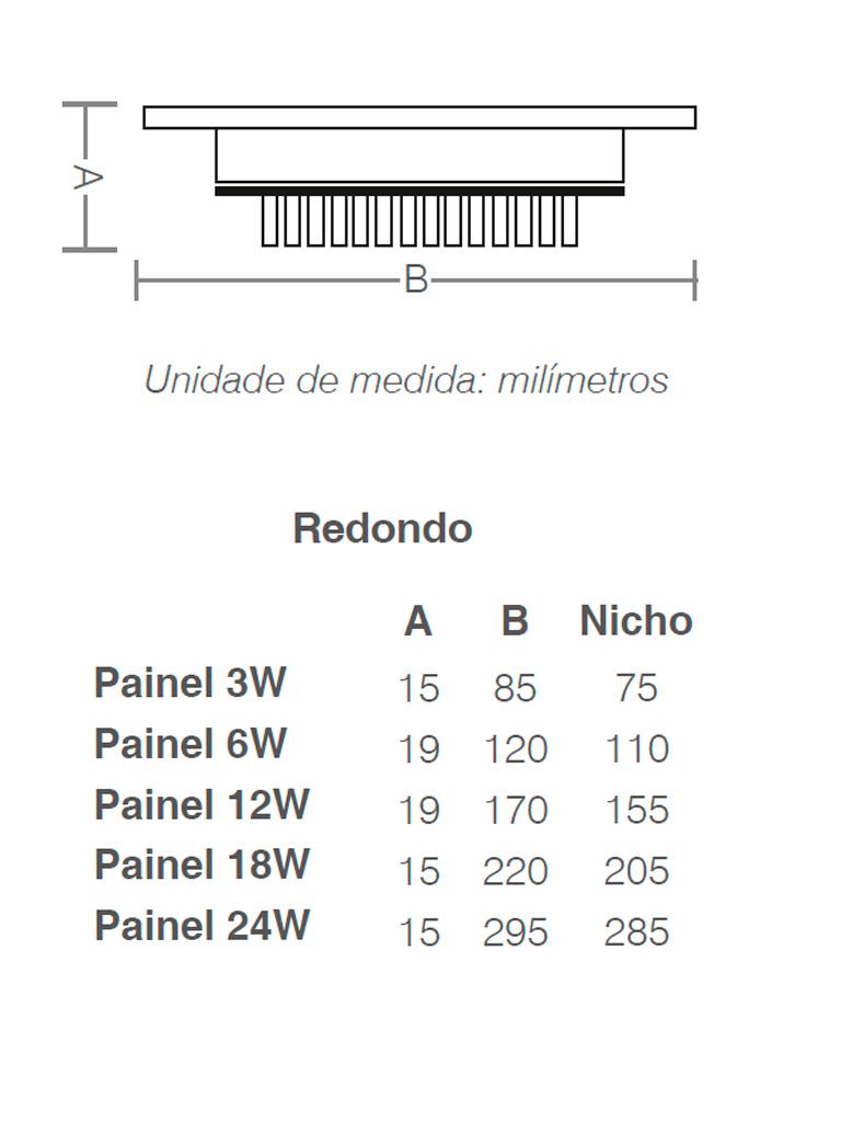 Painel Led Taschibra Led Lux Embutir 18W - Redondo - 6500k - Promoção