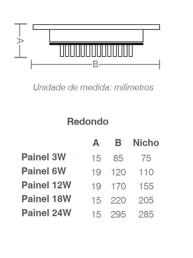 Painel Led Taschibra Led Lux Embutir 3W - Redondo - 8,5cm