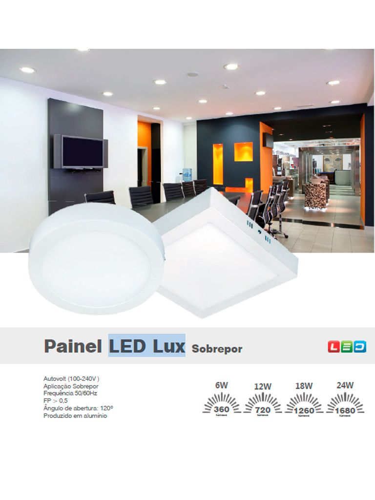 Painel Led Taschibra Led Lux Sobrepor 12W - Quadrado - 16cm
