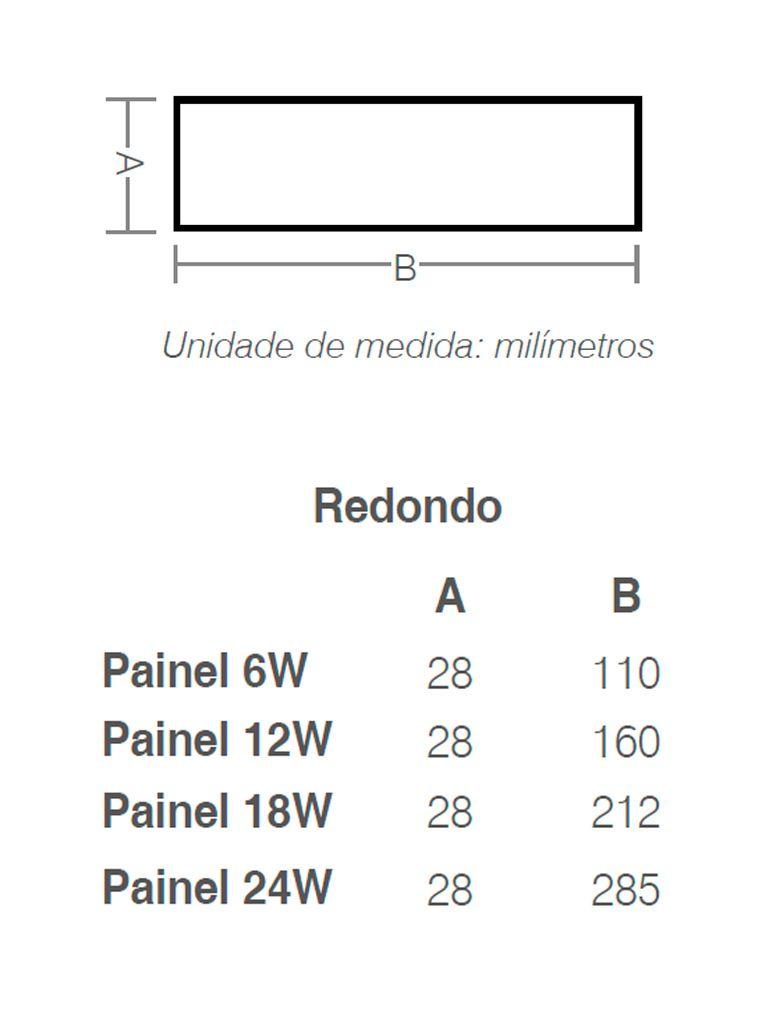 Painel Led Taschibra Led Lux Sobrepor 12W - Redondo - 16cm