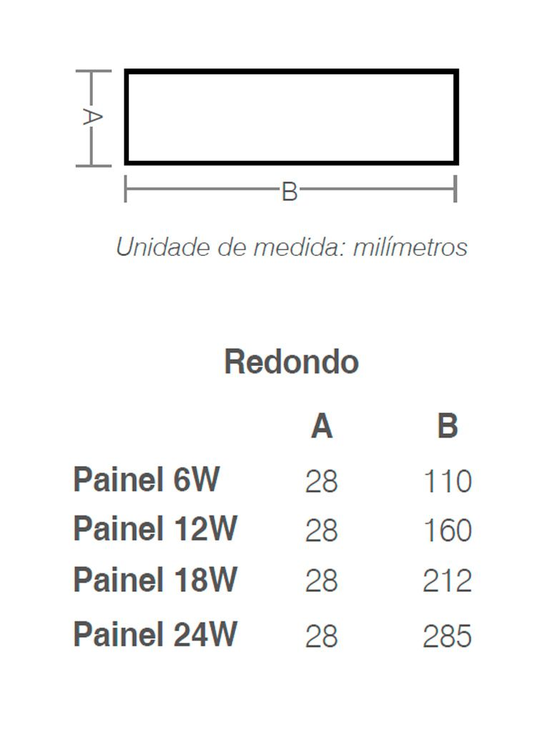 Painel Led Taschibra Led Lux Sobrepor 18W - Redondo - 21cm