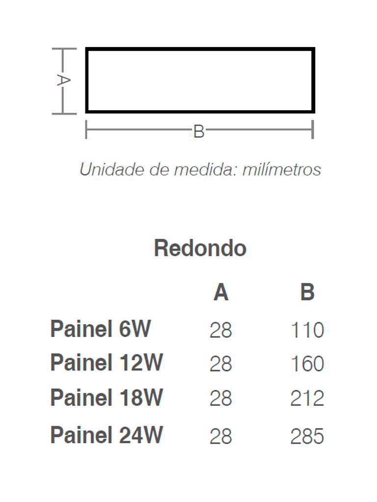 Painel Led Taschibra Led Lux Sobrepor 18W - Redondo - 3000k - Promoção