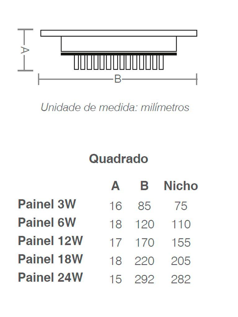 Painel Led Taschibra Led Lux Embutir 3W - Quadrado - 8,5cm