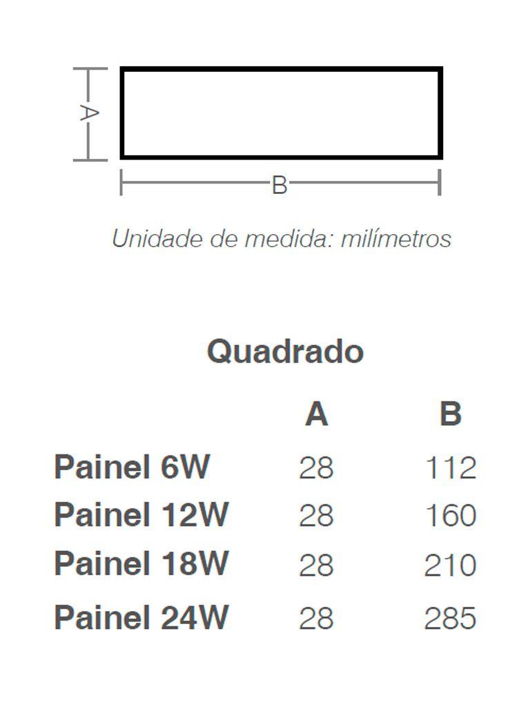 Painel Led Taschibra Led Lux Sobrepor 6W - Quadrado - 11cm