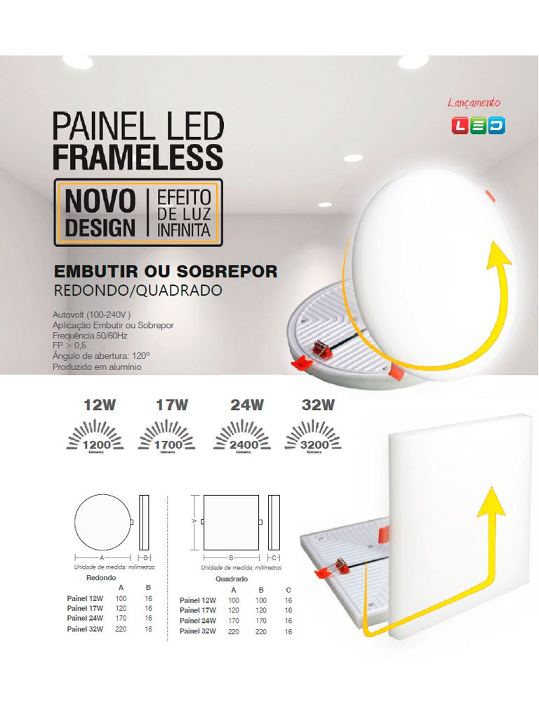 Painel Led Frameless 17W Taschibra Sobrepor ou Embutir Redondo - 120x16mm