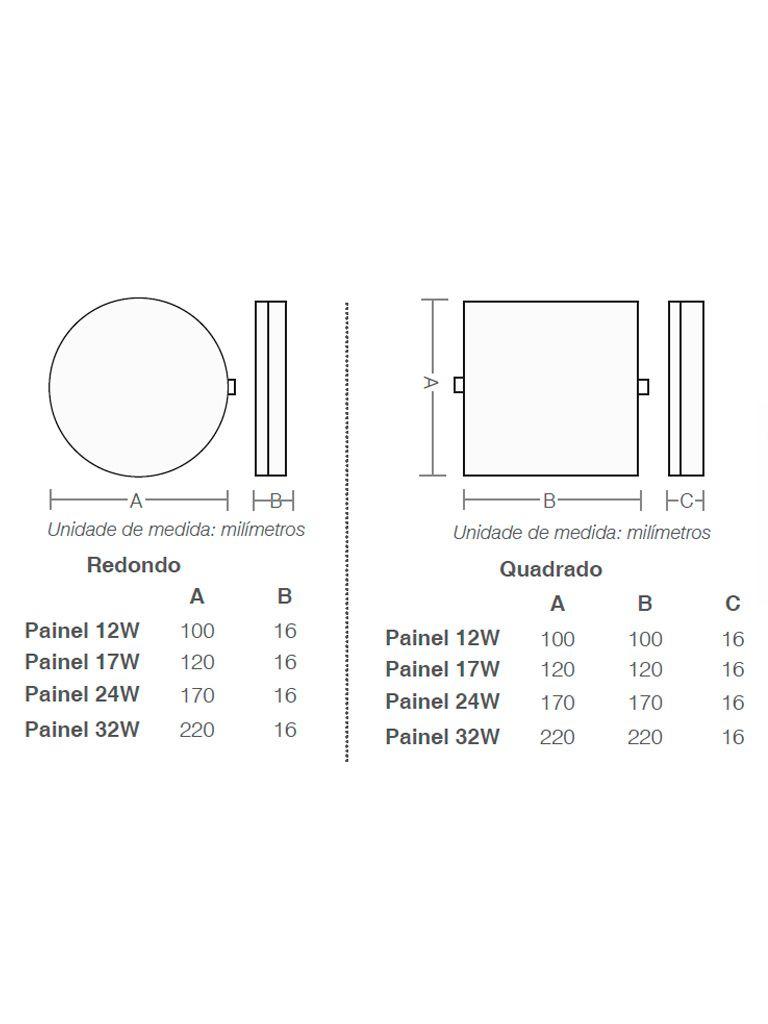 Painel Led Frameless 24W Taschibra Sobrepor ou Embutir Redondo - 170x16mm