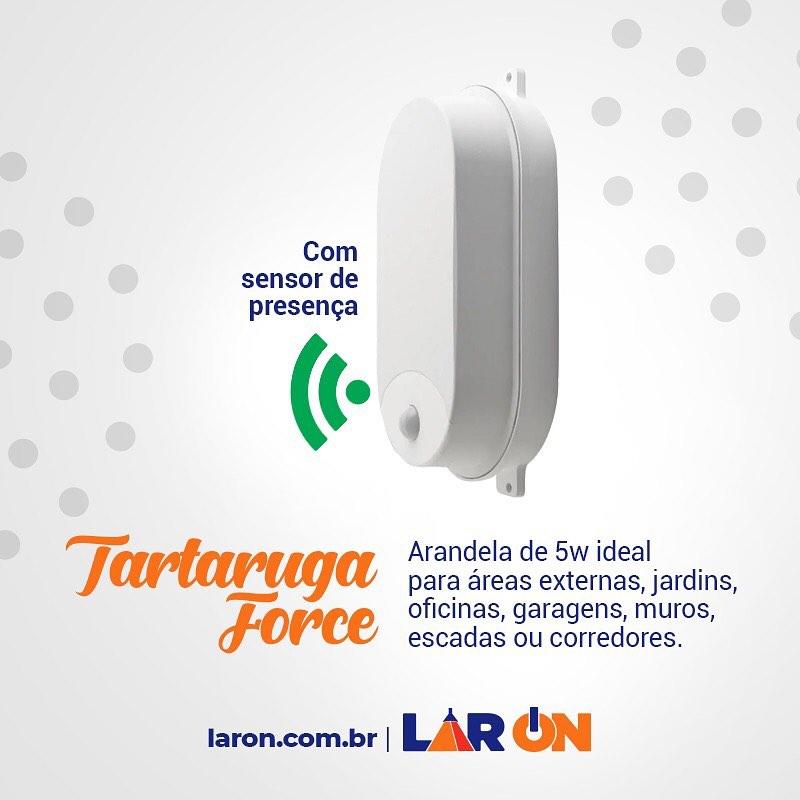 Tartaruga com Sensor de Presença Force  - Led - Arandela 5W
