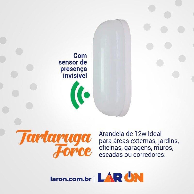 Tartaruga com Sensor de Presença Force - Led - Arandela 12W Taschibra