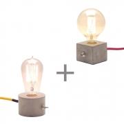 Kit 2 Luminárias de Mesa de Cimento Dado + Roda Promoção Combo