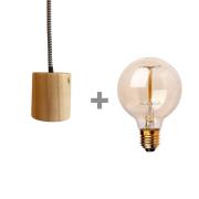 Kit Lustre Pendente de Madeira com Lâmpada de Filamento G95