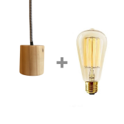 Kit Lustre Pendente Redondo de Madeira com Lâmpada de Filamento ST64
