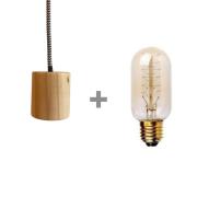 Kit Lustre Pendente de Madeira com Lâmpada de Filamento T45