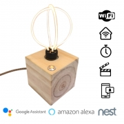 Luminária WiFi Smart Cubo Zolt Abajur Madeira