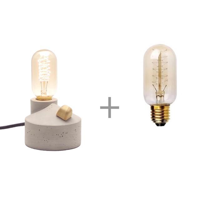 Combo Luminária de Mesa com dimmer, Abajur Zolt mais Lâmpada T45 Filamento de Carbono  - ZOLT luminárias