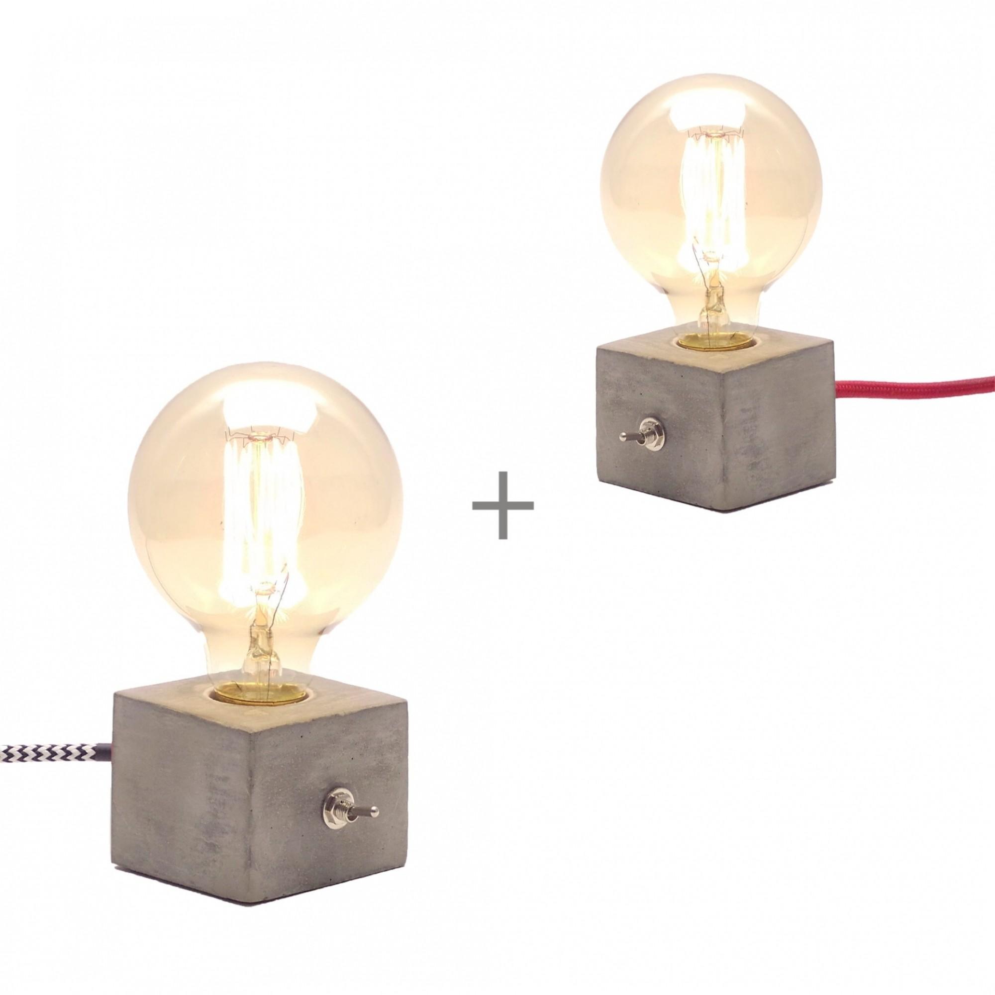Duas Luminárias de Mesa Abajur Dado de Concreto Cimento  - ZOLT luminárias