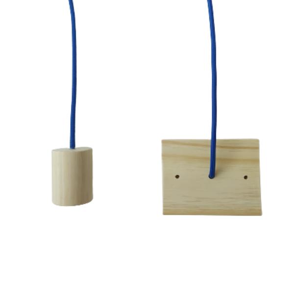 Kit 3 Lustres Pendente de Madeira Redondo com Cabo de Tecido Promoção  - ZOLT luminárias