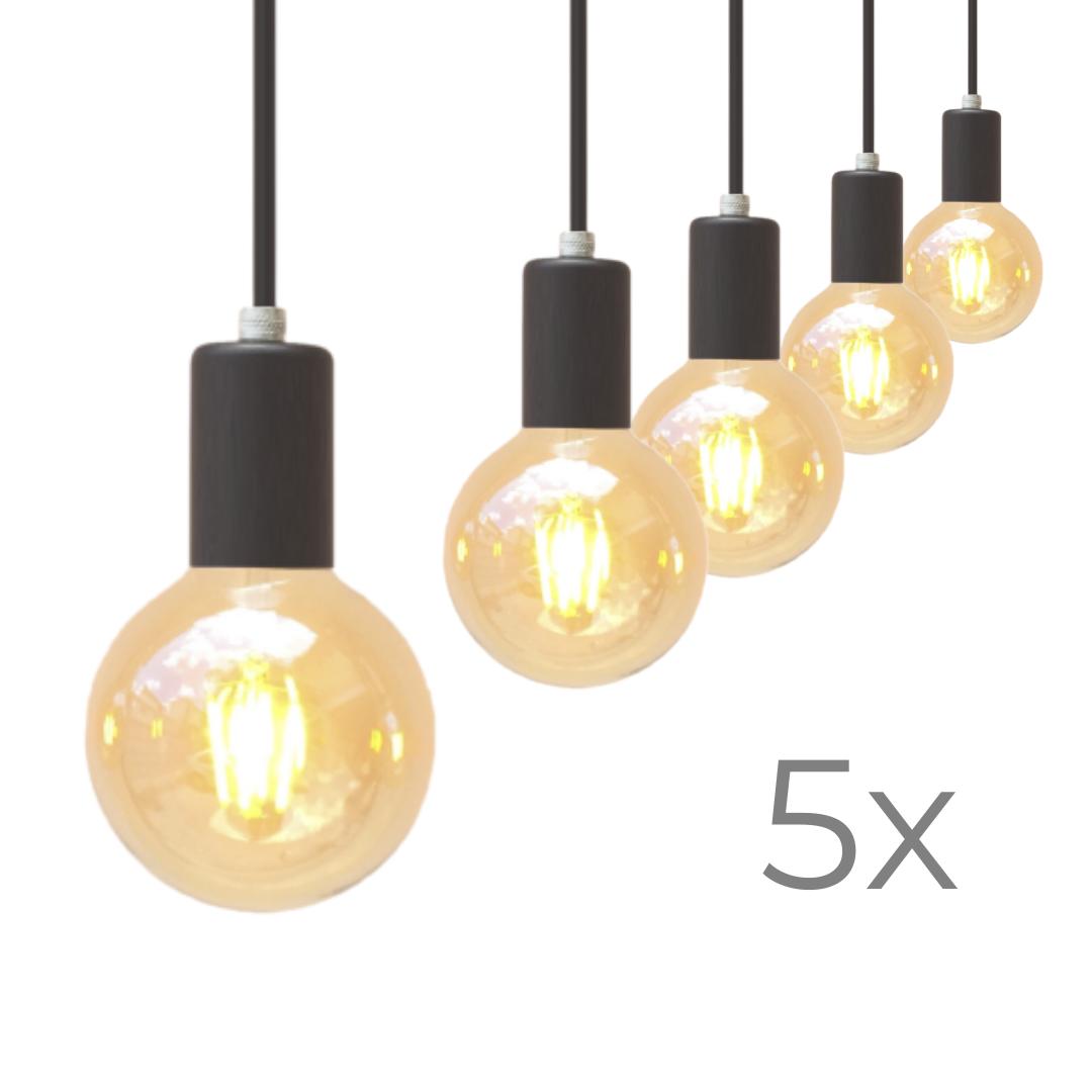 Kit Cinco Lustres Pendetes Metálico Preto Promoção  - ZOLT luminárias