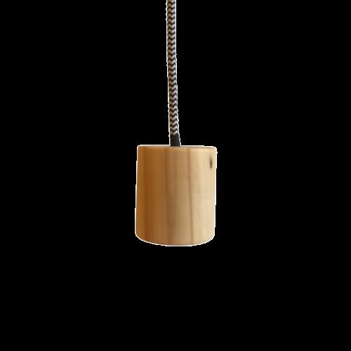 Kit Lustre Pendente de Madeira com Lâmpada de Filamento T45  - ZOLT luminárias