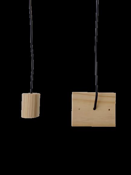 Kit Lustre Pendente Redondo de Madeira com Lâmpada de Filamento T45  - ZOLT luminárias