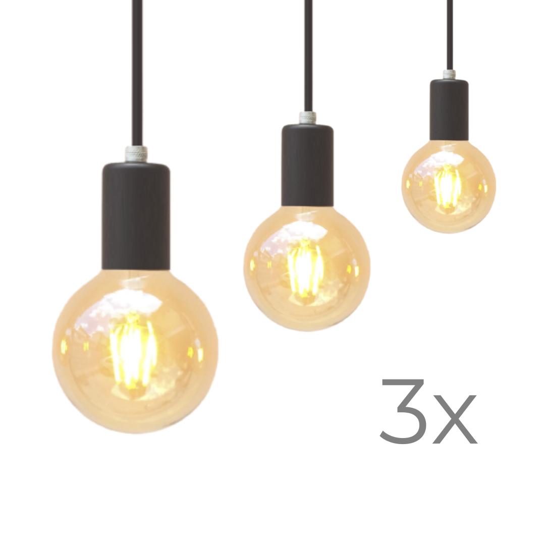 Kit Três Lustres Pendetes Metálico Preto   - ZOLT luminárias