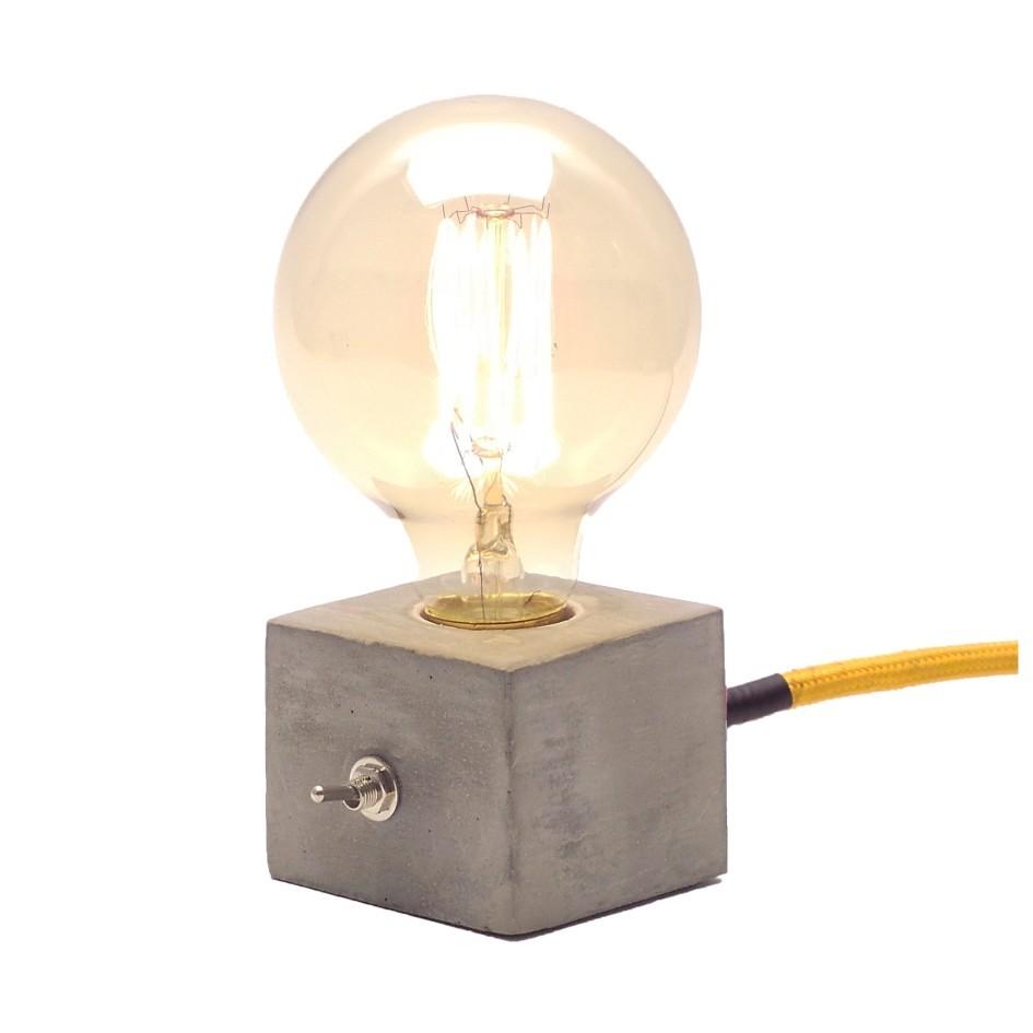 Luminária de Mesa Abajur Dado com Cabo de Tecido e Botão   - ZOLT luminárias