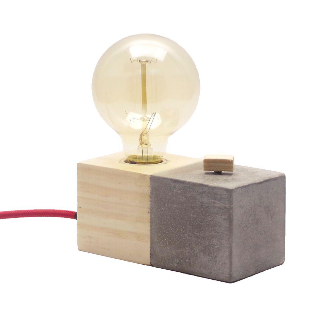 Luminária Bee em Madeira e Cimento Concreto com Dimmer e Cabo de Tecido  - ZOLT luminárias