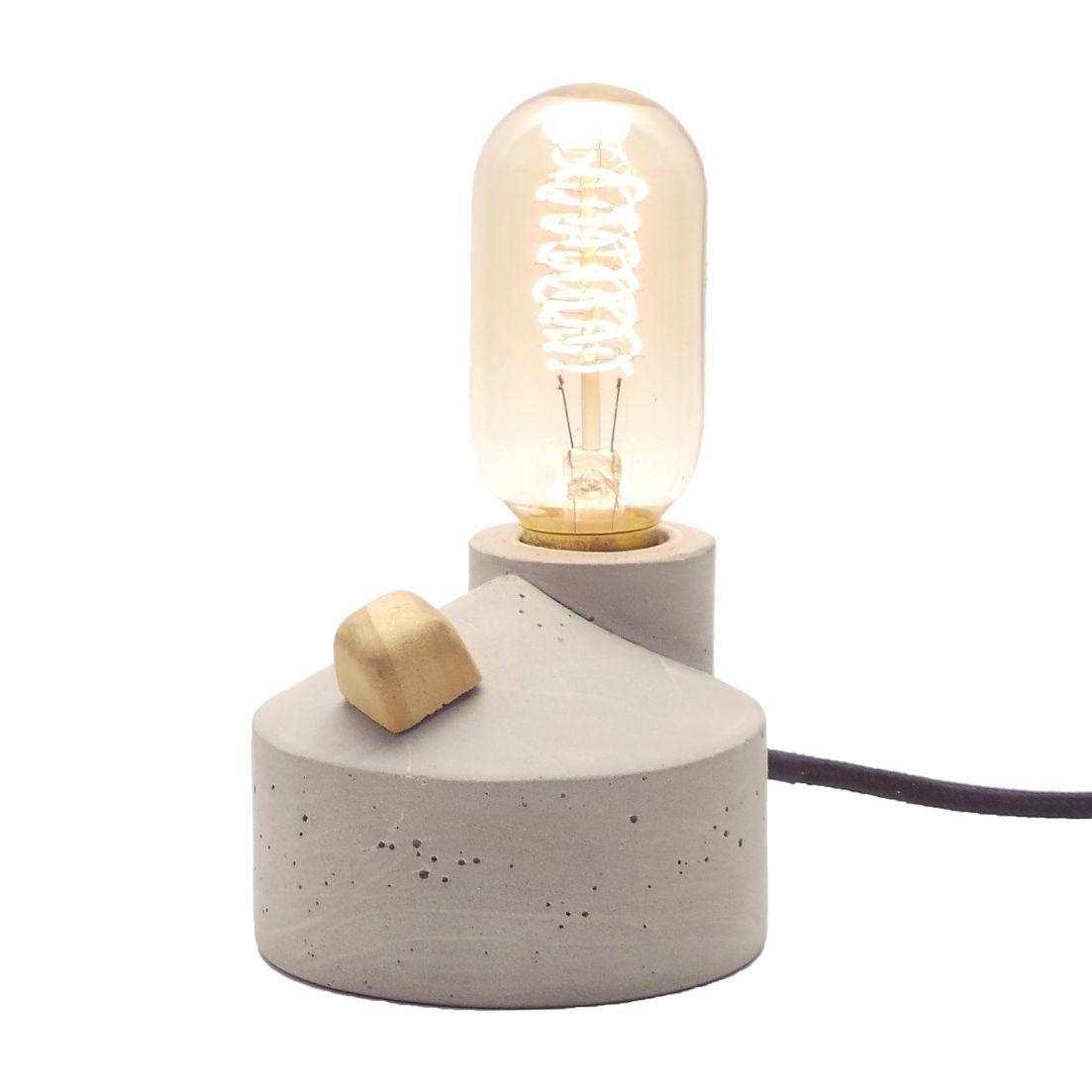Luminária Zolt em Cimento Concreto Com Dimmer e Cabo de Tecido  - ZOLT luminárias