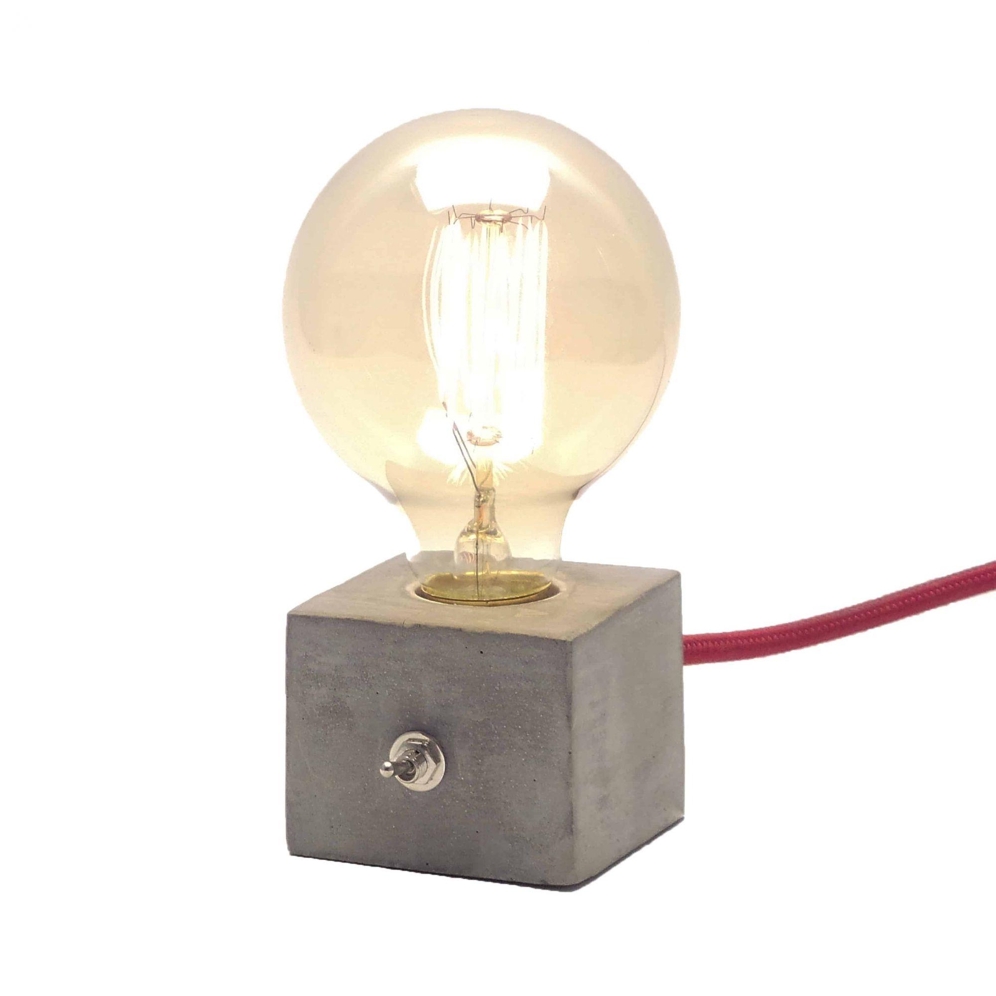 Luminária Dado em Cimento Concreto com Cabo de Tecido e Botão  - ZOLT luminárias