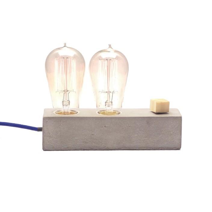 Luminária de Mesa Abajur Dupple em Cimento Concreto com Dimmer e Cabo de Tecido  - ZOLT luminárias