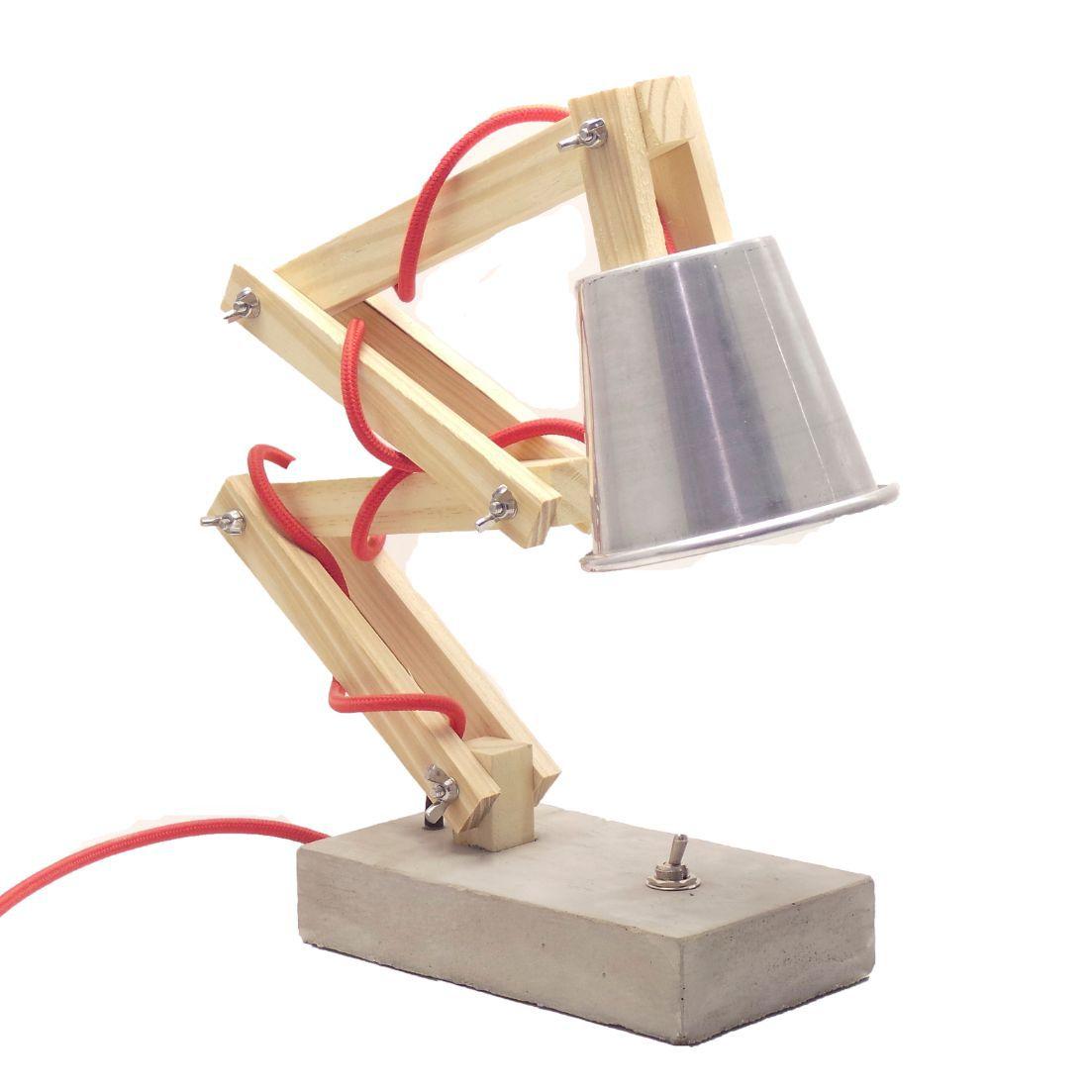 Luminária de Mesa Articulada Abajur Girafa com Cabo de tecido e Botão  - ZOLT luminárias