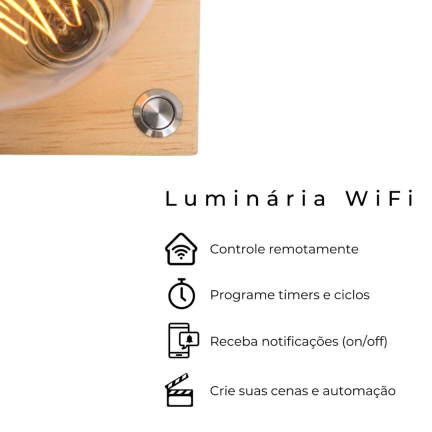 Luminária WiFi Smart Cubo Zolt Abajur Madeira  - ZOLT luminárias