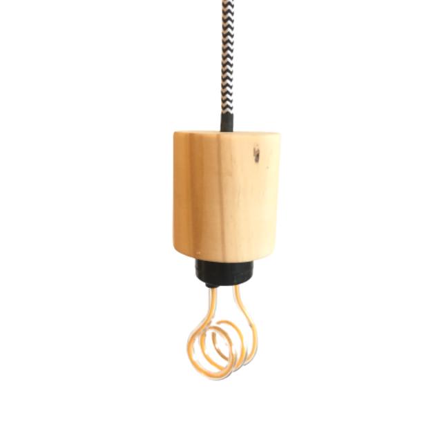 Lustre Pendente de Madeira com Lâmpada LED 3D  - ZOLT luminárias