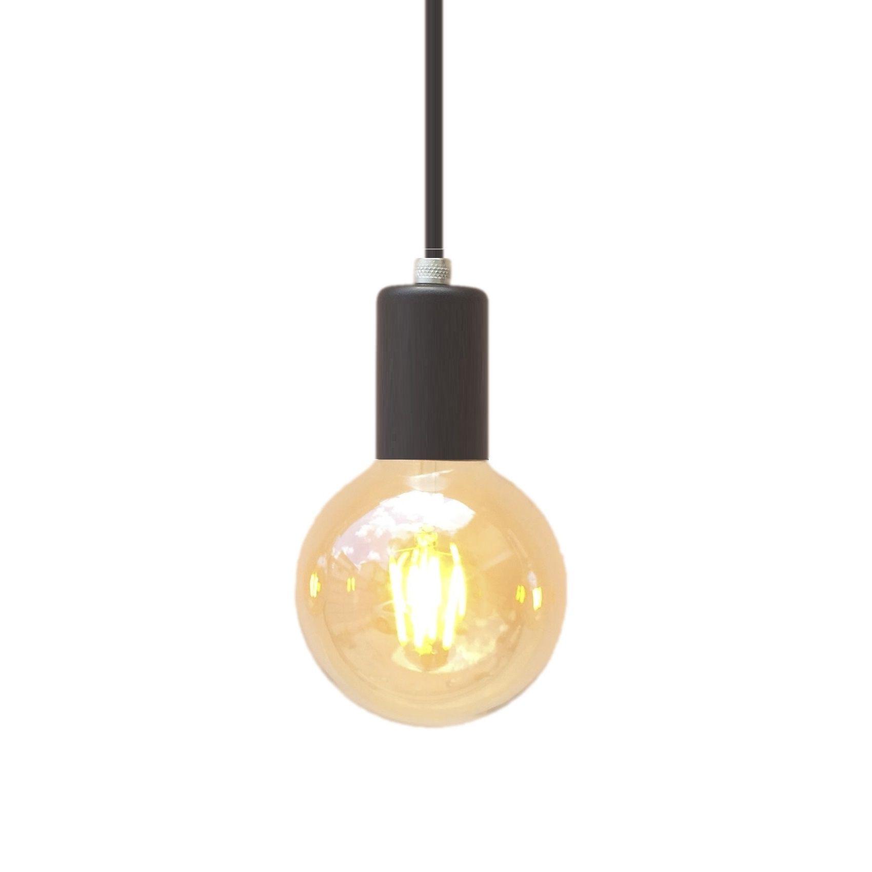 Lustre pendente metálico preto  - ZOLT luminárias