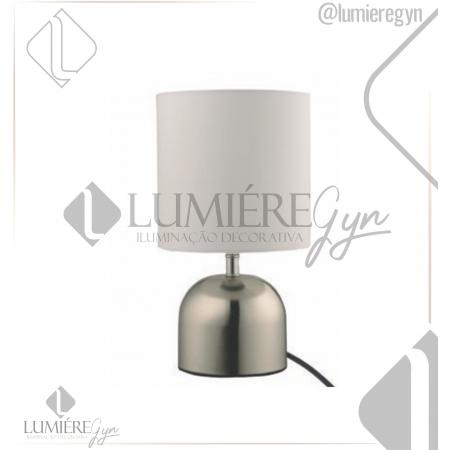 ABAJUR CASUAL LIGHT QAB1067-BR TACK 1L E27 40W Ø160X290MM NÍQUEL/BRANCO