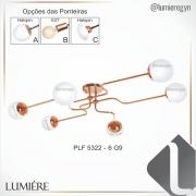 CÓPIA - PLAFON DE SOBREPOR C/ GLOBO 100X72CM METAL E VIDRO | OLD ARTISAN PLF-5322