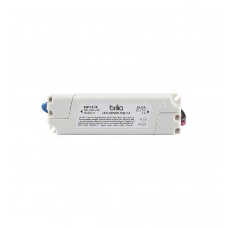 FONTE/DRIVER LED BRILIA 435823 12W 12V 1A IP20 BIVOLT