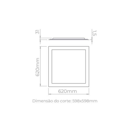 PAINEL/LUMINÁRIA DE EMBUTIR LED EVO BACKLIGHT QUADRADO ALTO IRC>90 4000K NEUTRO 40W BIVOLT 62X62CM ALUMÍNIO BRANCO   STELLA STH20958/40