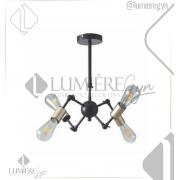 PENDENTE CASUAL LIGHT  QPD1367DO METAL ARTICULADO MODERNO FILAMENTO 4XE27 Ø40,5XA15,5CM PRETO/DOURADO