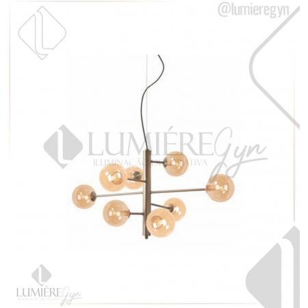 PENDENTE COSMOS CASUAL LIGHT PD1430CH METAL/VIDRO 8L G9 LED/5W 900X670X450MM BRONZE