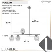 Pendente Quality PD1330CH Cutie 4L E27 910x150x360mm Cobre