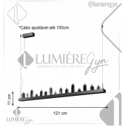 PENDENTE LED CASTILLO 3000K QUENTE 36W BIVOLT 121CM CRISTAL, ALUMÍNIO E METAL MARROM | CASUAL LIGHT  PD1455