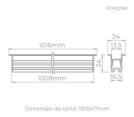 PERFIL DE EMBUTIR LED ARCHI RECUADO LINEAR 1 METRO ALTO IRC>93 2700K QUENTE 14W 24V ALUMÍNIO PRETO | STELLA STH20981PTO/27