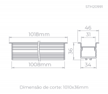 PERFIL DE EMBUTIR LED ARCHI RECUADO LINEAR 1 METRO ALTO IRC>93 4000K NEUTRO 23W 24V ALUMÍNIO BRANCO | STELLA STH20991BR/40