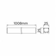 PERFIL DE SOBREPOR PLANO 24V 25mm - LENTE PRETA - STH20963PTO/30