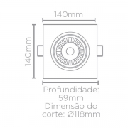 SPOT/LUMINÁRIA DE EMBUTIR LED EASY FACE PLANA QUADRADO 3000K QUENTE 12W BIVOLT 14X14CM ABS BRANCO | STELLA STH7925/30