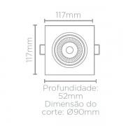 SPOT/LUMINÁRIA DE EMBUTIR LED EASY FACE PLANA QUADRADO 3000K QUENTE 7W BIVOLT 11,7X11,7CM ABS BRANCO | STELLA STH7920/30