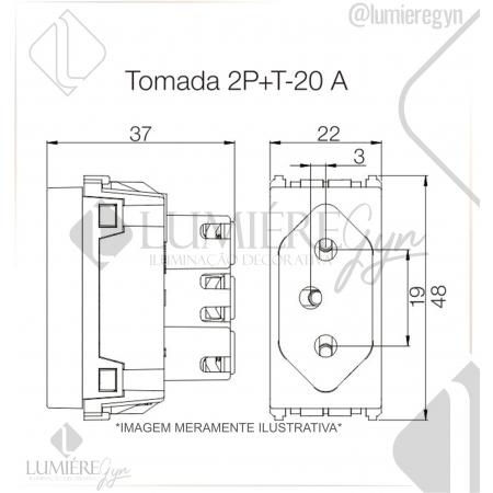 TOMADA 2P+T 250V 20A PRETO REFINATTO -13799424