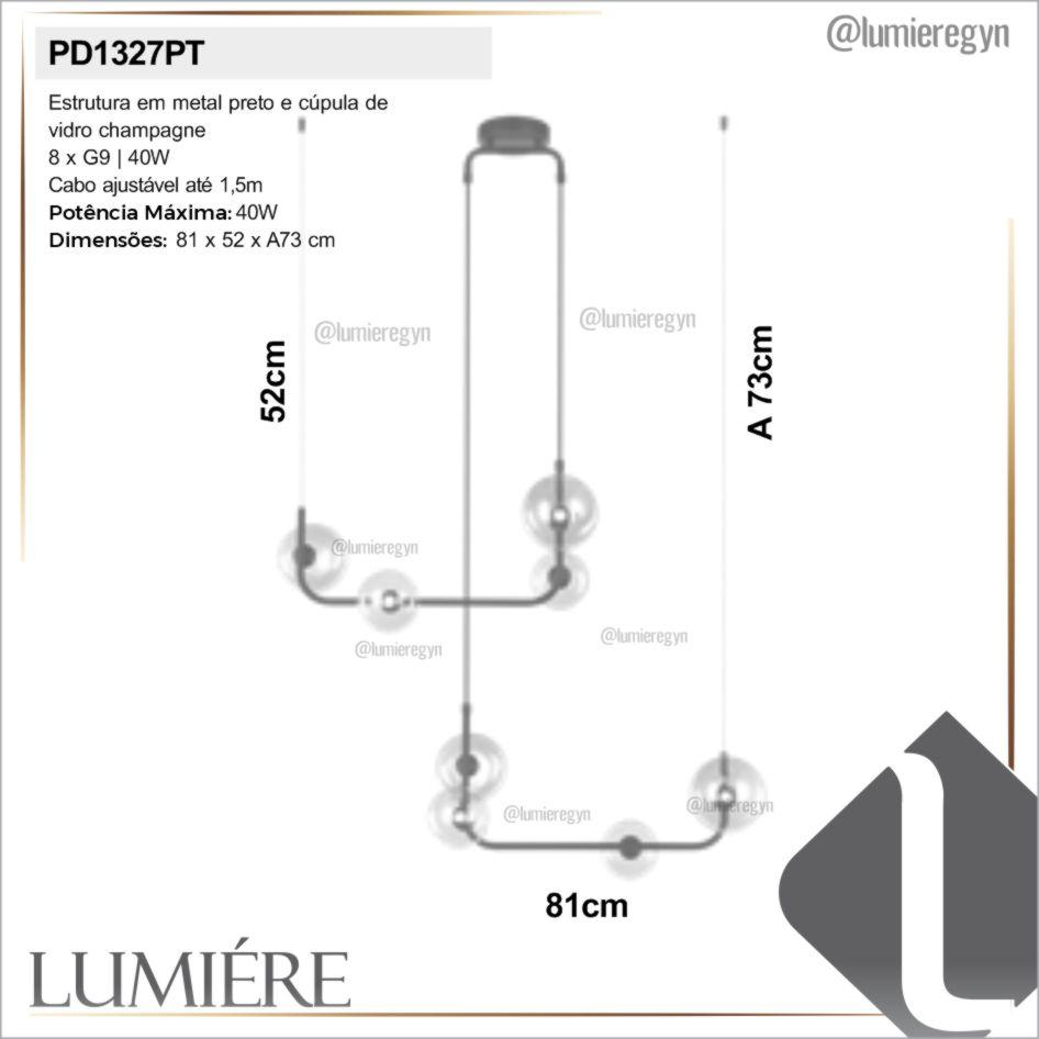Pendente Quality PD1327PT Stato 8L G9 810x520x730mm Preto/champagne