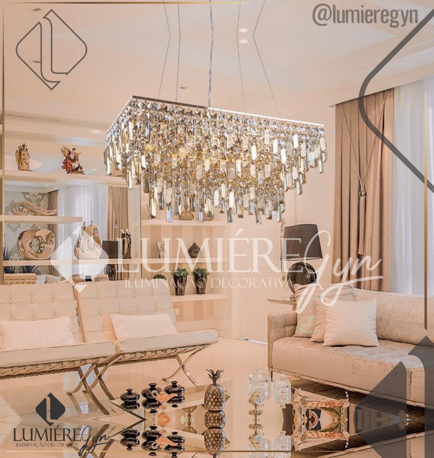 Lustre de cristal Cancun Retangular Champagne Startec 140140041